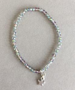 Armband Glasfacett klein aqua Anhänger Seestern