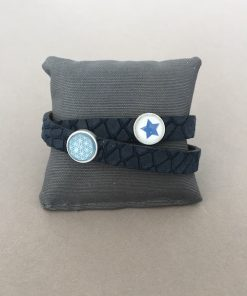 Armband Leder Reptilienprägung dunkelblau Stern Blume des Lebens
