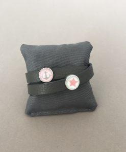 Armband Leder glatt doppelt dunkelgrau Cabochons Stern Anker rot