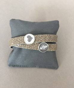 Armband Leder gold glitzer Cabochons Herz Love taupe