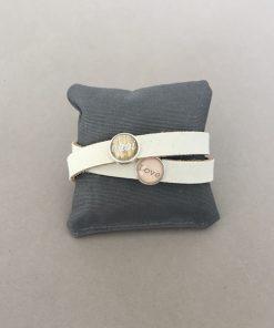 Armband Leder rau doppelt beige Cabochons Ahoi Love