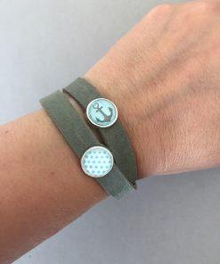 Armband Leder rau doppelt khaki Cabochons Anker Punkte türkis am Arm