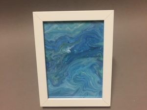 Bild aqua pouring 13x18 Rahmen weiß 1