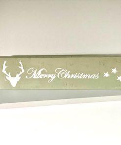 Holzschild Merry Christmas Hirsch
