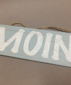 Holzschild blau MOIN