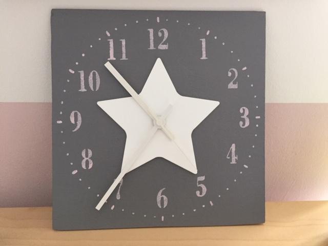 Wand Uhr grau rosa weiß Stern