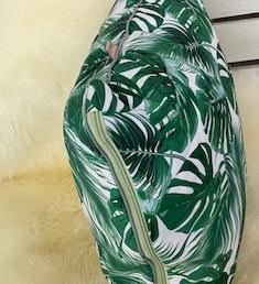 Kissen MONSTERA grün 40x40 Reißverschluss und Paspel