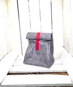 Lunchbag SCANDI grau grafisch Klett pink klein vorne