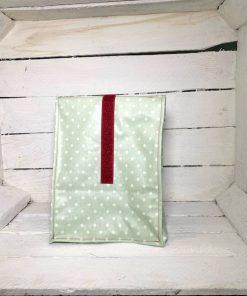 Lunchbag grün Punkte weiß Klett dunkelrot klein hinten