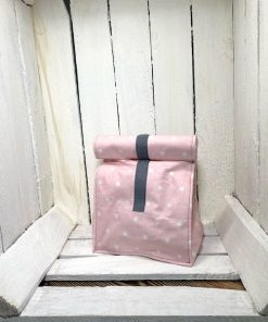 Lunchbag rosa Sterne Klett grau klein vorne