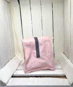 Lunchbag rosa Sterne weiß Klett grau klein hinten