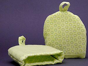 Eierwärmer grün Blümchen