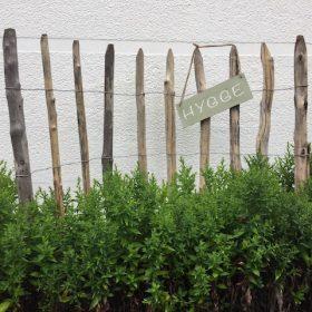 Schild HYGGE Zaun grün