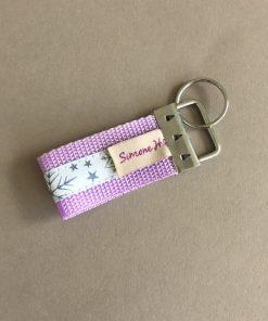 Schlüsselanhänger Gurtband flieder Schneeflocken klein hinten