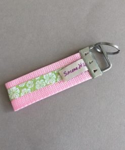 Schlüsselanhänger Gurtband groß rosa Hibiskus hinten