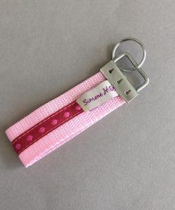 Schlüsselanhänger Gurtband groß rosa pink Punkte hinten