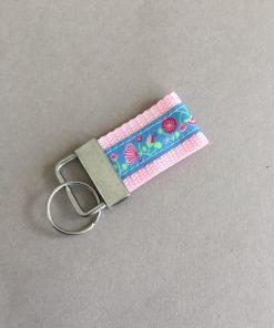 Schlüsselanhänger Gurtband klein rosa Blumen vorne