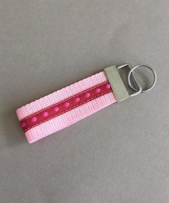 Schlüsselanhänger Gurtband groß rosa pink Punkte vorne