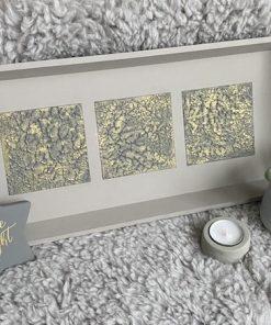 Tablett Holz Sturkturpaste taupe grau gold mit Stern und Deko